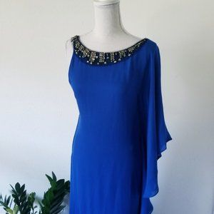 BCBG Royal Blue Ruffle Shoulder Jeweled Gown 4